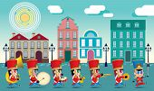 A Marching Cute Brass Band With Various Kind Of Instruments. With Day Time Street Scene. poster