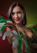Beautiful  Woman In Carnival Costume With Rhinestones And Natural Feathers.  Professional  Make-up,  poster