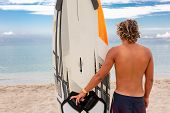 Handsome Man Walk With White Blank Surfing Board Wait For Wave To Surf Spot At Sea Ocean Shore. Conc poster