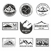 Set Of Nine Mountain Travel Emblems With Grunge Texture. Camping Outdoor Adventure Emblems, Badges A poster