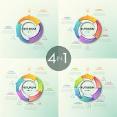 Collection Of Round Pie Charts Divided Into Colorful Sectors With Arrows Pointing At Thin Line Icons poster