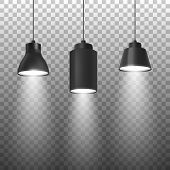 Vector Realistic 3d Black Spotlights Or Hang Ceiling Lamp Set On Rope Closeup Isolated On Transparen poster