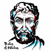 Thales Of Miletus Engraved Vector Portrait With Ink Contours. Pre-socratic Greek Philosopher, Mathem poster