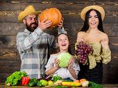 Parents And Daughter Celebrate Harvest Holiday Pumpkin Vegetables Fruits. Family Farmers With Harves poster