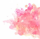 Abstract Spots Pink Watercolor On White Background. The Color Splashing In The Paper. It Is A Hand D poster