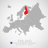 Map Of European Union With The Identication Of Finland. Map Of Finland. Political Map Of Europe In G poster