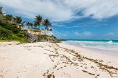 Tropical Crane Beach In Barbados Island In Cloudy Weather - West Indies, Caribbean. The Beach Has Be poster
