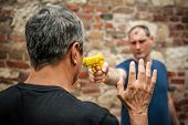 Robber With A Gun Attacks The Victim In A Abandoned Part Of The City. Gun Point Disarm Training poster