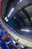 INDIANAPOLIS, IN - SEPT 2: Fisheye view of interior of Lucas Oil Stadium during football game betwee