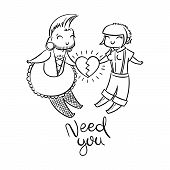 Need You. Cute Freaks In Love. Gender-queer, Cross-dressing, Punk, Goth, Skin. Vector Illustration F poster