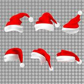 Santa Claus Red Hat Silhouette. Santa Red Hat Isolated On Transparent Background. Santa Hat. Vector  poster