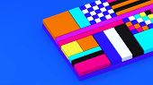 3d Background. Abstract Wallpaper. Pop Art. Shapes 3d. Flying Geometric Objects. Minimalism. Trendy  poster