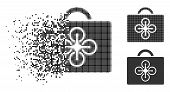 Drone Toolcase Icon In Disappearing, Pixelated Halftone And Undamaged Entire Versions. Pixels Are Gr poster