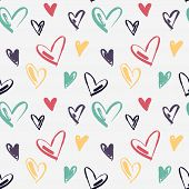 Pattern Of Hearts Hand Drawn Vector Sketch. Seamless Heart Art Background Hand Drawn By Brush. Roman poster