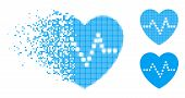 Heart Pulse Icon In Dispersed, Dotted Halftone And Undamaged Entire Variants. Pixels Are Grouped Int poster