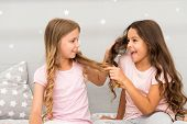 Strong Hair. Children Cheerful Play With Hair In Bedroom. Happy Childhood Moments. Kids Girls Sister poster