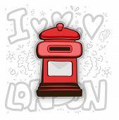 London Post Box Vector. English London Post Cartoon Illustration. Red Mail Box - England - London -  poster