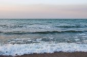 Sea Sunset With Waves. Ocean Coast With Waves. Beautiful Seascape Autumn. Background From The Sea, O poster