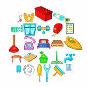 Apartment Renovation Icons Set. Cartoon Set Of 25 Apartment Renovation Vector Icons For Web Isolated poster