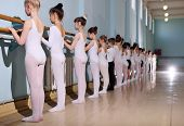 Young Dancers In The Ballet Studio. Young Dancers Perform Gymnastic Exercises At The Ballet Or Barre poster