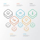 Climate Icons Line Style Set With Breeze, Cloudy Sky, Lightning And Other Overcast Elements. Isolate poster