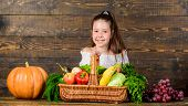 Child Cheerful Celebrate Harvest Holiday Pumpkin Vegetables Basket. Harvest Festival Concept. Kid Fa poster