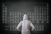 Rear View Of Hooded Man Against Blackboard With Periodic Table Of Elements. Education And Science Co poster