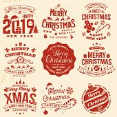 Set Of Merry Christmas And 2019 Happy New Year Stamp, Sticker Set With Snowflakes, Hanging Christmas poster
