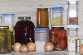 Storage Shelves In Pantry With Homemade Canned Preserved Fruits And Vegetables poster