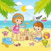 Boy And A Girl Are Building A Castle From The Sand. Children Playing On The Beach By The Sea. poster