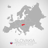 Map Of European Union With The Identication Of Slovakia. Map Of Slovakia. Political Map Of Europe In poster