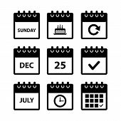 Calendar Icons For Web Design, Calendar Symbol, Flat Calendar, Graphic Element, Web Design, Calendar poster