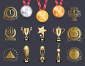 Silver And Gold Medals Collection Hanging On Red Lace, Prizes On Pedestals, Badges With Headlines, S poster