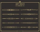 Set Of Art Deco Gold Calligraphic Page Dividers. Vector Golden Flourishes Page Decoration Vignettes. poster