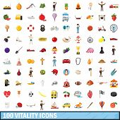 100 Vitality Icons Set In Cartoon Style For Any Design Illustration poster