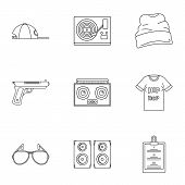 Rap Icon Set. Outline Set Of 9 Rap Vector Icons For Web Design Isolated On White Background poster