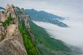 stock photo of seoraksan  - Famous Ulsanbawi Rock against the fog seorak mountains at the Seorak - JPG