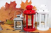 White And Red Candle Lantern With Autumn Leaves poster
