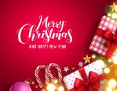 Christmas Vector Background Banner With Bright Blurred Lights, Merry Christmas Greeting Text And Col poster