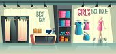 Vector Girls Boutique. Female Clothing Shop Interior - Wardrobe With Clothes, Cartoon Mannequin In D poster