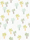 Cute Hand Drawn Palms Vector Pattern. Green Palm Trees On A White Background. Short Irregular Lines  poster