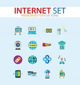Internet Icon Set. Web Camera Mouse Synchronization Data Flow Hyperlink Internet Sign Tablet Interne poster