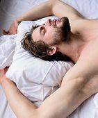 Man Unshaven Handsome Guy Naked Torso Sleep Nap On Bed. Man Sleepy Unshaven Bearded Face Sleep Has R poster