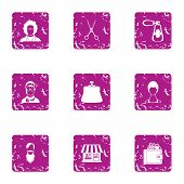 Coiffeur Icons Set. Grunge Set Of 9 Coiffeur Icons For Web Isolated On White Background poster