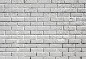 White painted blank brick wall background.