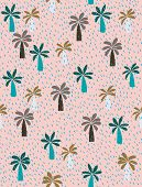 Cute Hand Drawn Palms Vector Pattern. Green, Blue And Brown Palm Trees On A Pink Background. Short I poster
