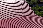 Gable Roof Top View, Roof Overlap With Corrugated Metal Of Red Color. poster