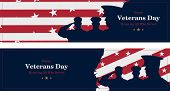 Happy Veterans Day. Greeting Card With Usa Flag, Map And Soldiers On Background. National American H poster