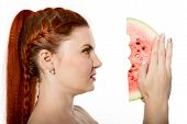 Beautiful Nude Redhead Woman Eating A Slice Of Watermelon. Concept Of Healthy Eating poster