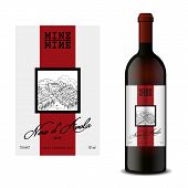 Modern Vector Wine Label And Bottle Of Wine Mockup With This Label poster